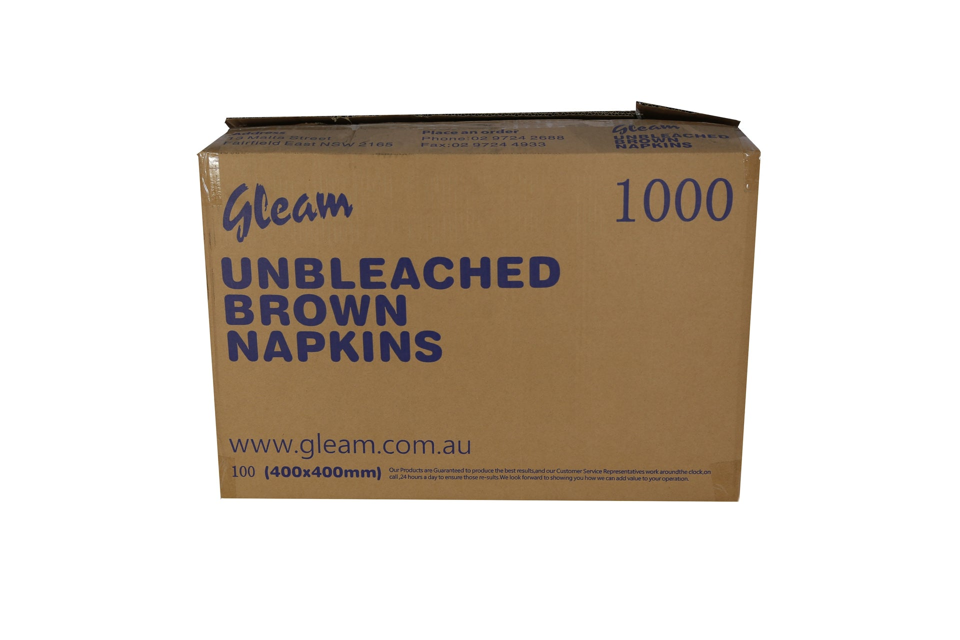 GLEAM UNBLEACHED PREMIUM FOLDED NAPKINS 400X400MM 1000 UNITS