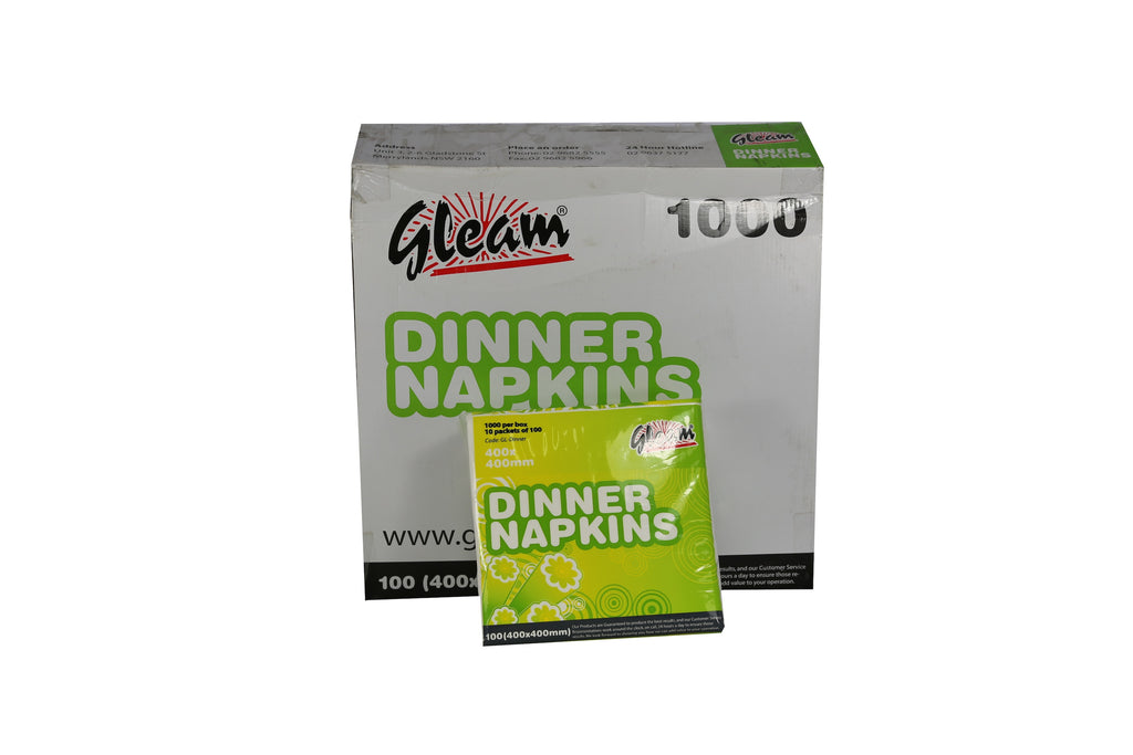 GLEAM DINNER 2PLY WHITE NAPKINS 400X400MM 1000 UNITS