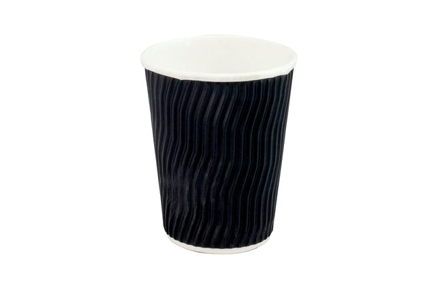 BLACK COFFEE CUP WAVE GROOVE 12OZ 500 UNITS
