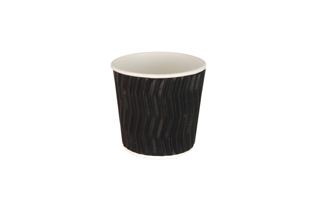 BLACK COFFEE CUP WAVE GROOVE 4OZ 1000 UNITS