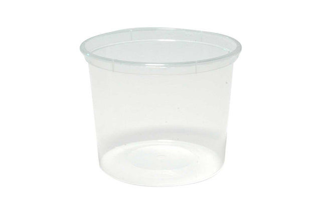 550ML ROUND CLEAR PLASTIC CONTAINERS 110X75MM 500 UNITS