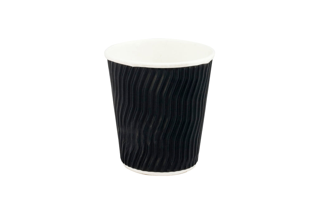 BLACK COFFEE CUP WAVE GROOVE 8OZ 500 UNITS