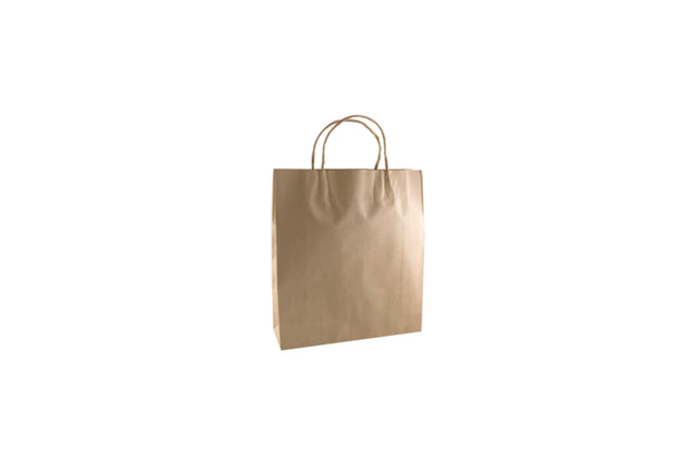 BROWN SMALL CARRY BAG TWIST HANDLE 35X26X9CM 250 UNITS