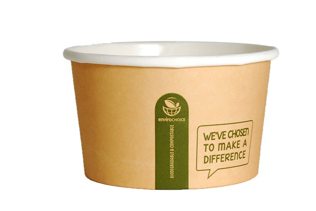 ENVIROCHOICE 12OZ PLA HEAVY BOARD ROUND CONTAINERS 115X65MM 500 UNITS