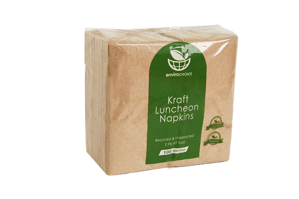 ENVIROCHOICE BROWN/KRAFT 2PLY LUNCHEON NAPKINS GT FOLD 300X300MM 2000 UNITS