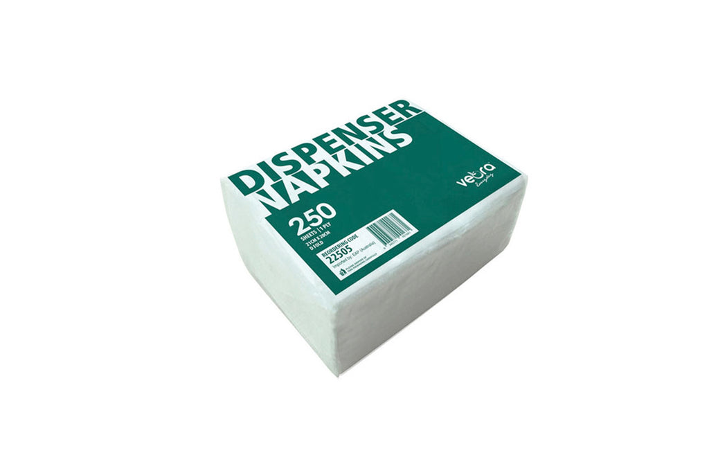 WHITE 1PLY DISPENSER NAPKINS 205x215MM 5000 UNITS