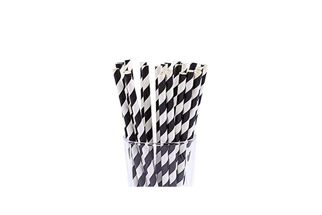 PAPER REGULAR STRAW BLACK/WHITE STRIPE 2500 UNITS