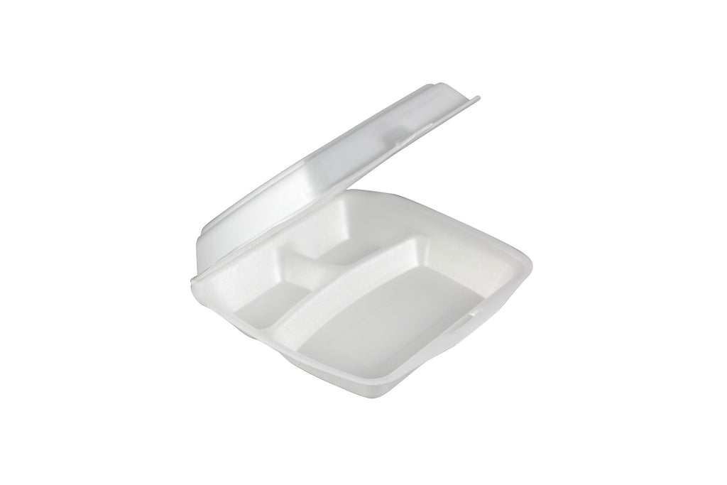 FOAM CONTAINER WITH LID 215X215X70MM 3 COMPARTMENTS 200 UNITS