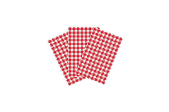 RED CHECKED GREASEPROOF PAPER 190 X 310 MM