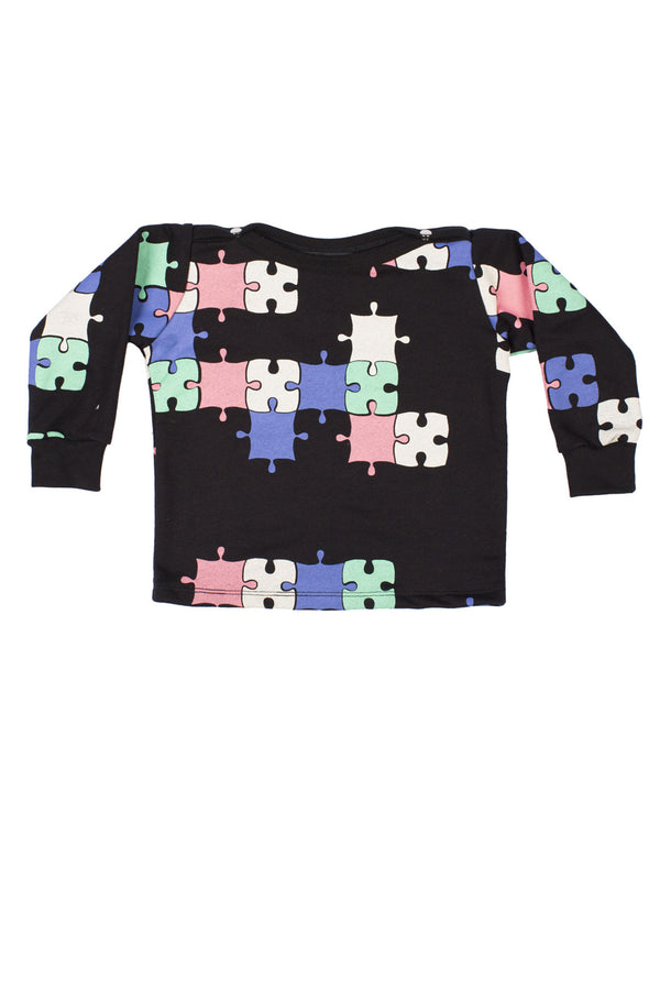 Puzzle Baby Sweater Black/Multi - Zuttion