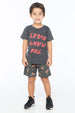 TOO MANY RULES S/S ROUND NECK T CHARCOAL - Zuttion