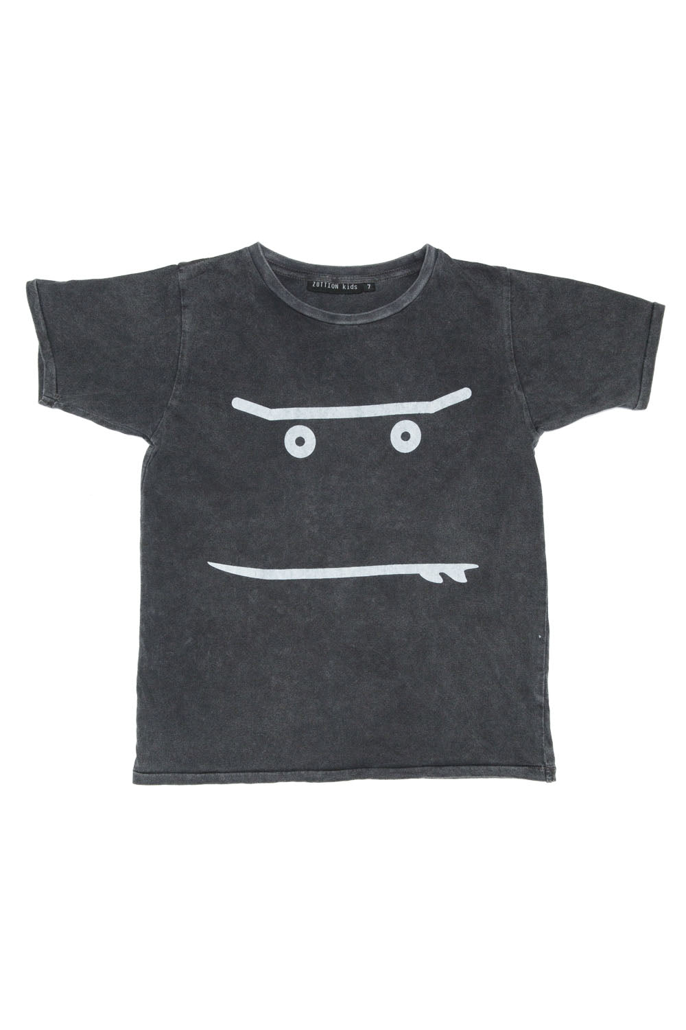 NEW SMILEY ROUND NECK T CHARCOAL