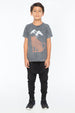 WILD CAT S/S ROUND NECK T CHARCOAL - Zuttion