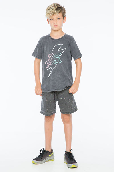 LIGHTNING BOLT ROUND NECK T CHARCOAL