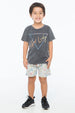 GET LUCKY S/S ROUND NECK T CHARCOAL - Zuttion