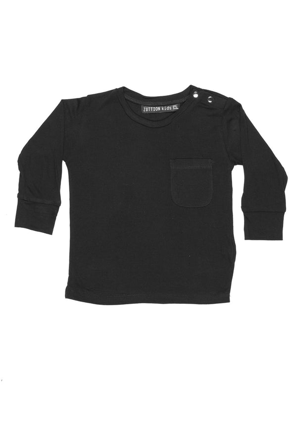Baby Long Sleeve Tee Black - Zuttion