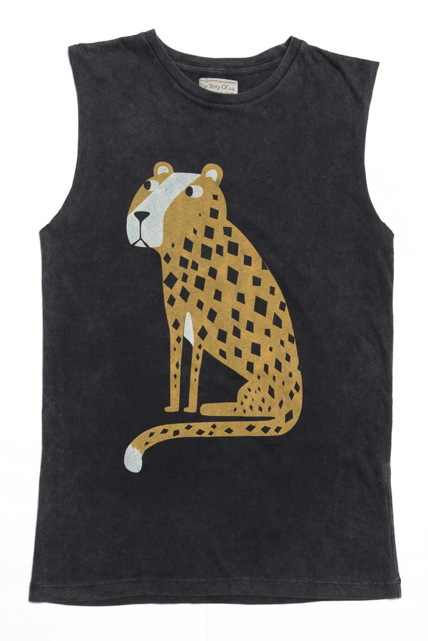 CHEETAH TANK DRESS CHARCOAL - Zuttion