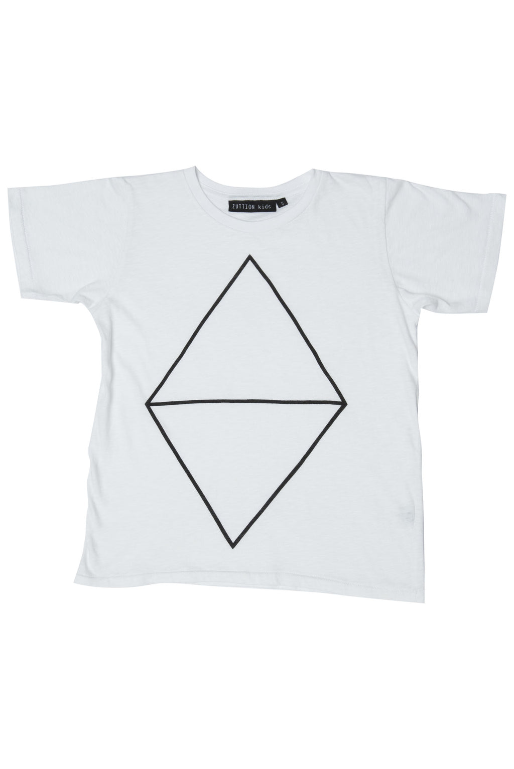 DIAMOND ROUND NECK T WHITE - Zuttion