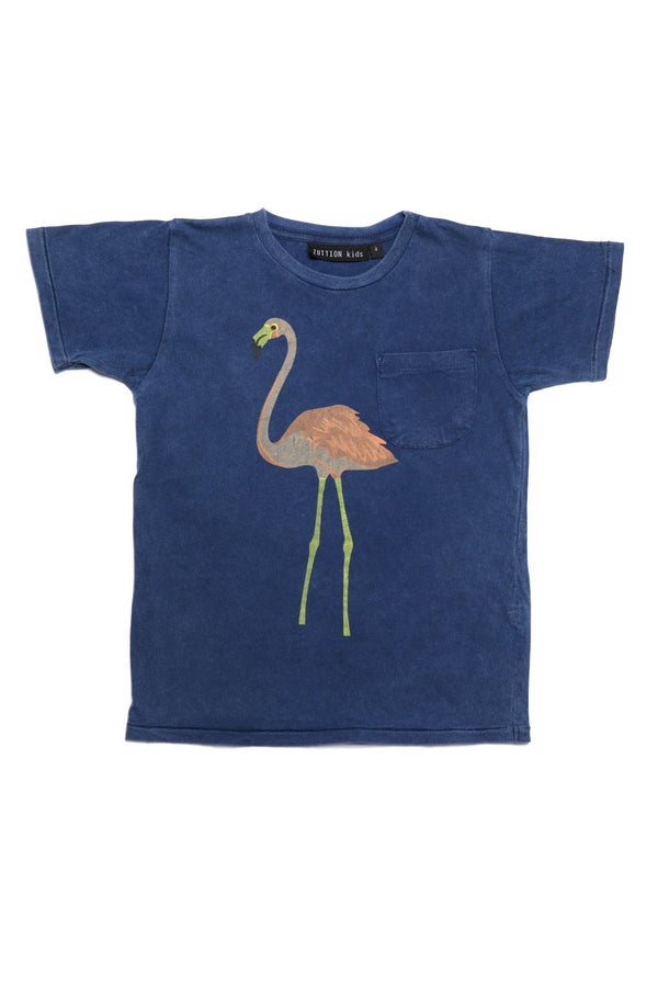 FLAMINGO ROUND NECK POCKET T NAVY - Zuttion