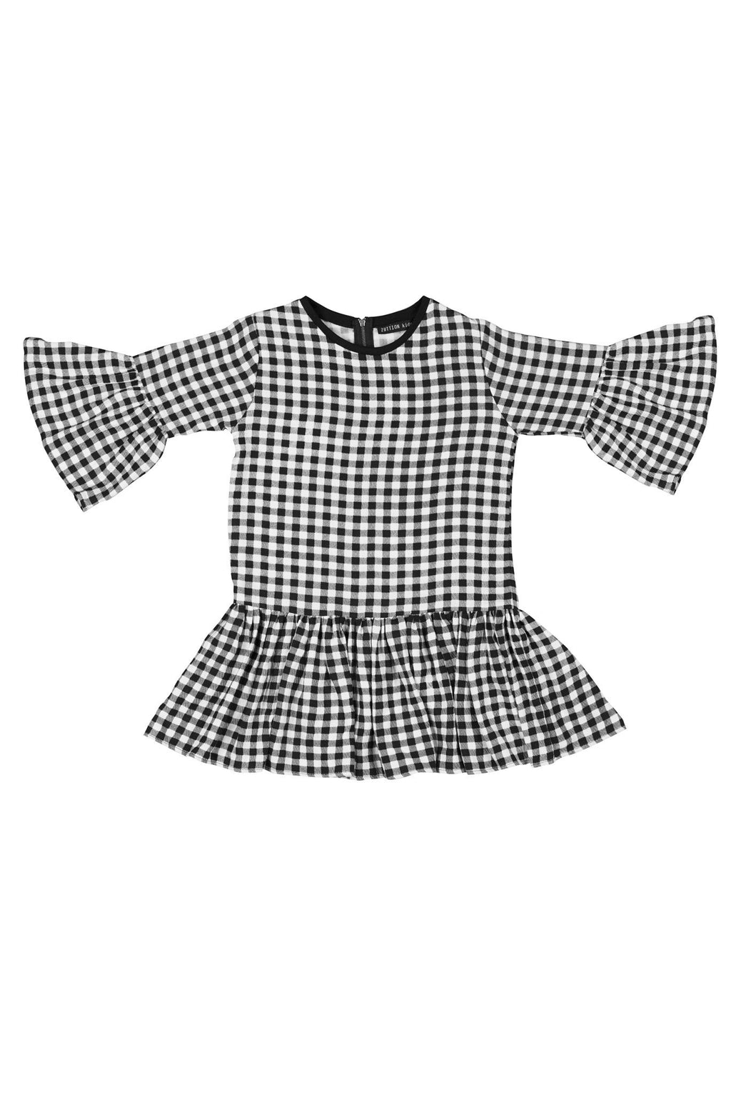 Yasmin Gingham Dress Black/White - Zuttion