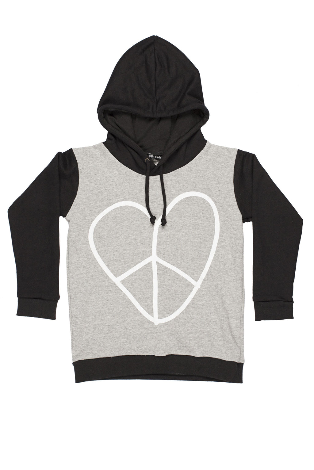 Heart Peace Sweater Hoodie Black/Grey - Zuttion
