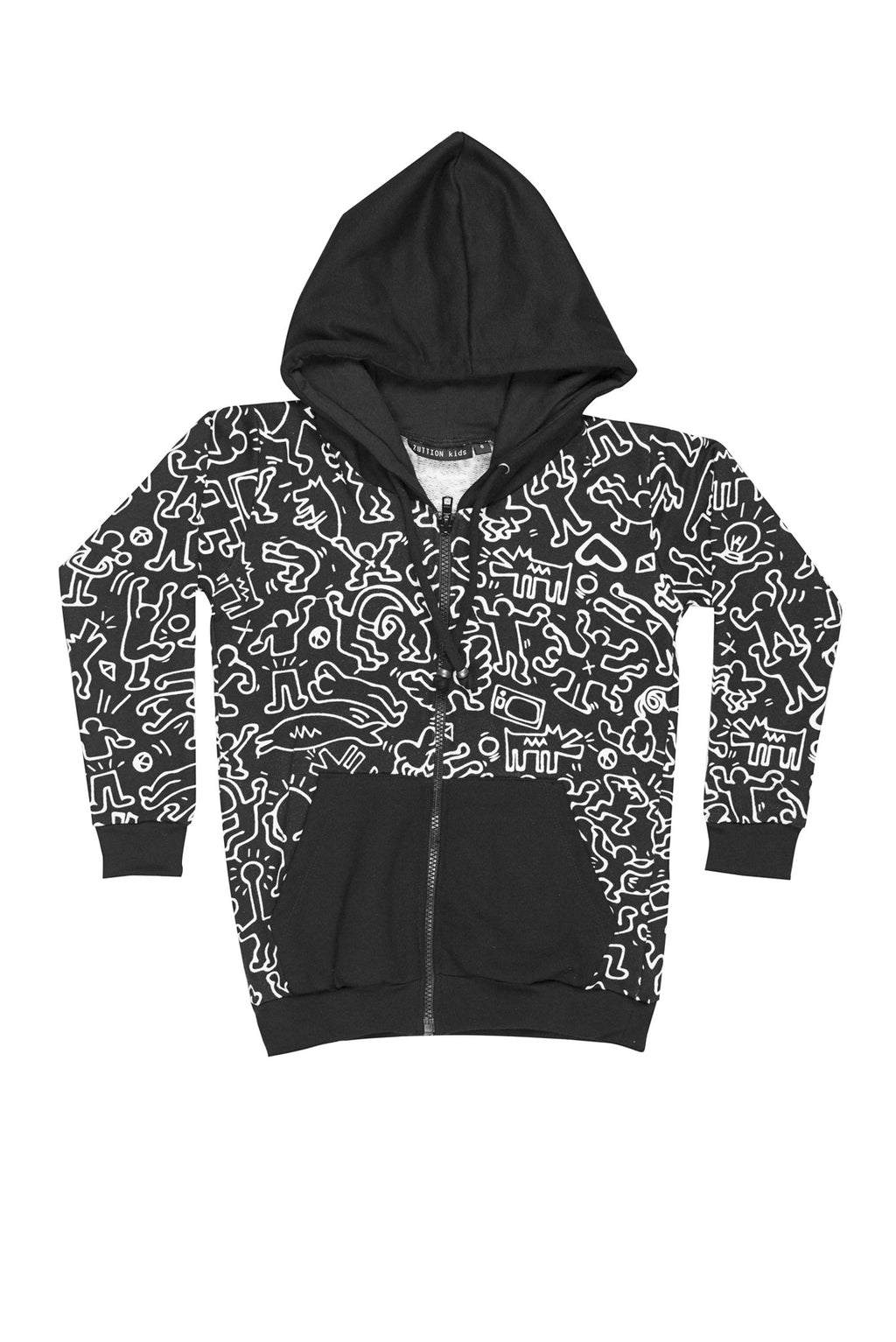 Keith Zip Up Hoodie Black - Zuttion
