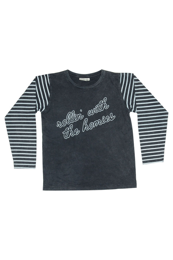 ROLLIN WITH THE HOMIES L/S ROUND NECK T CHARCOAL