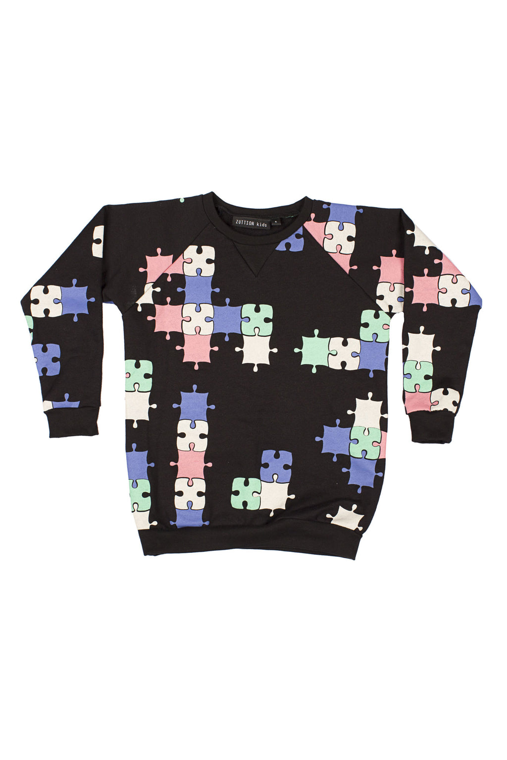 Puzzle Raglan Sweater Black/Multi - Zuttion