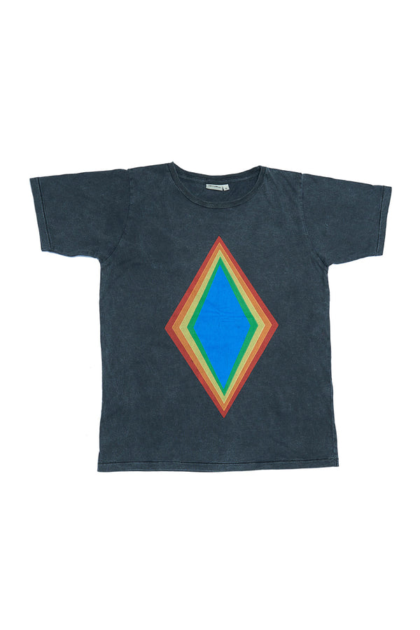 RAINBOW DIAMOND S/S ROUND NECK T CHARCOAL