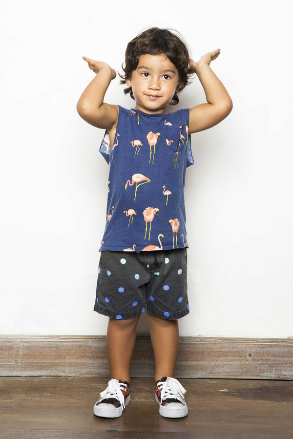 SMALL FLAMINGO TANK TOP POCKET NAVY - Zuttion
