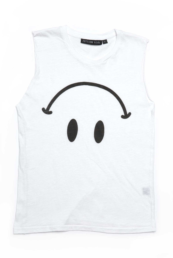 SMILEY TANK TOP WHITE - Zuttion