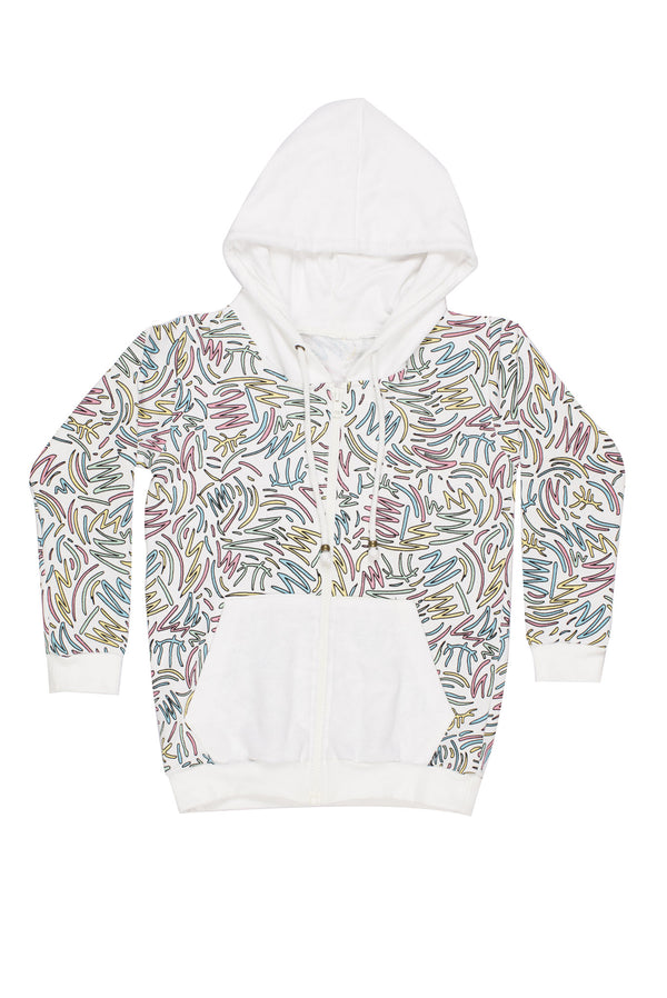 Squiggle Zip Up Hoodie White/Multi - Zuttion