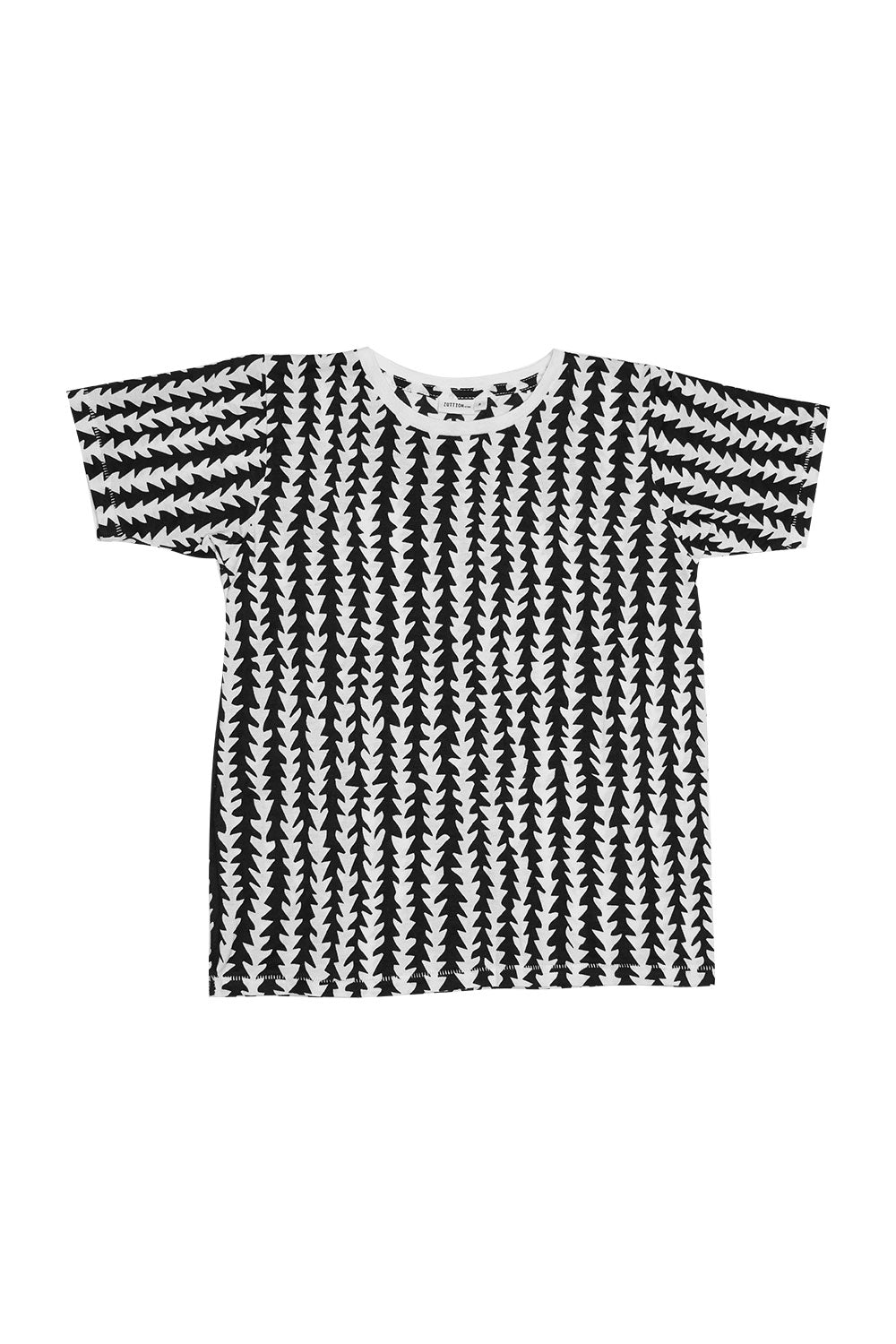 TRIBE S/S ROUND NECK T BLACK/WHITE