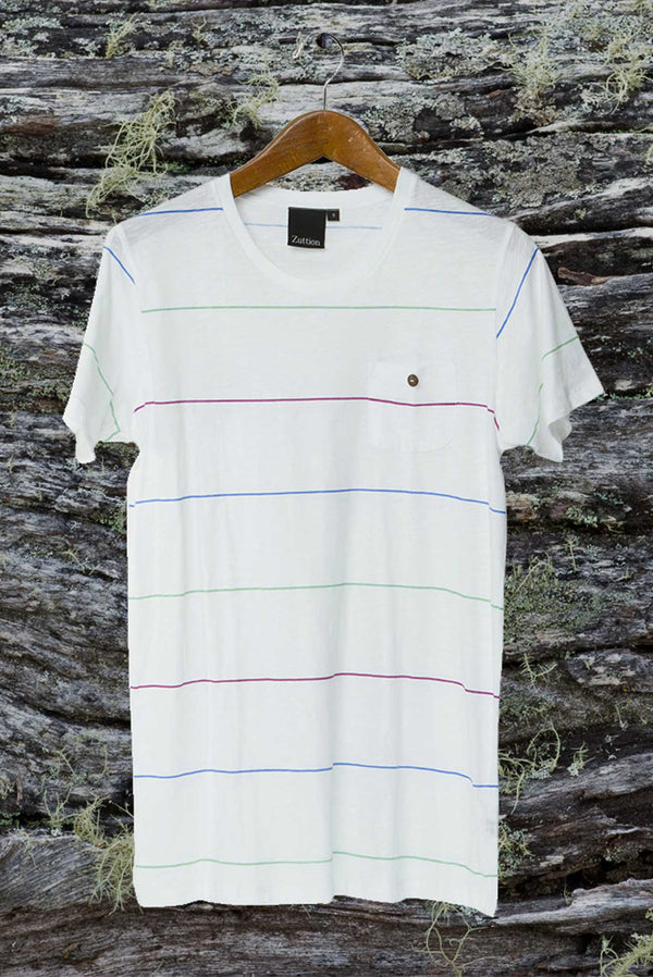 THREE SMALL STRIPE ROUND NECK T WHITE - Zuttion