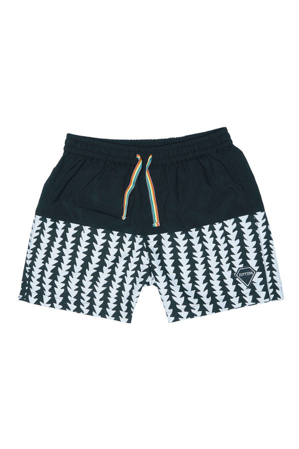 TRIBE BOARD SHORT BLACK/ WHITE