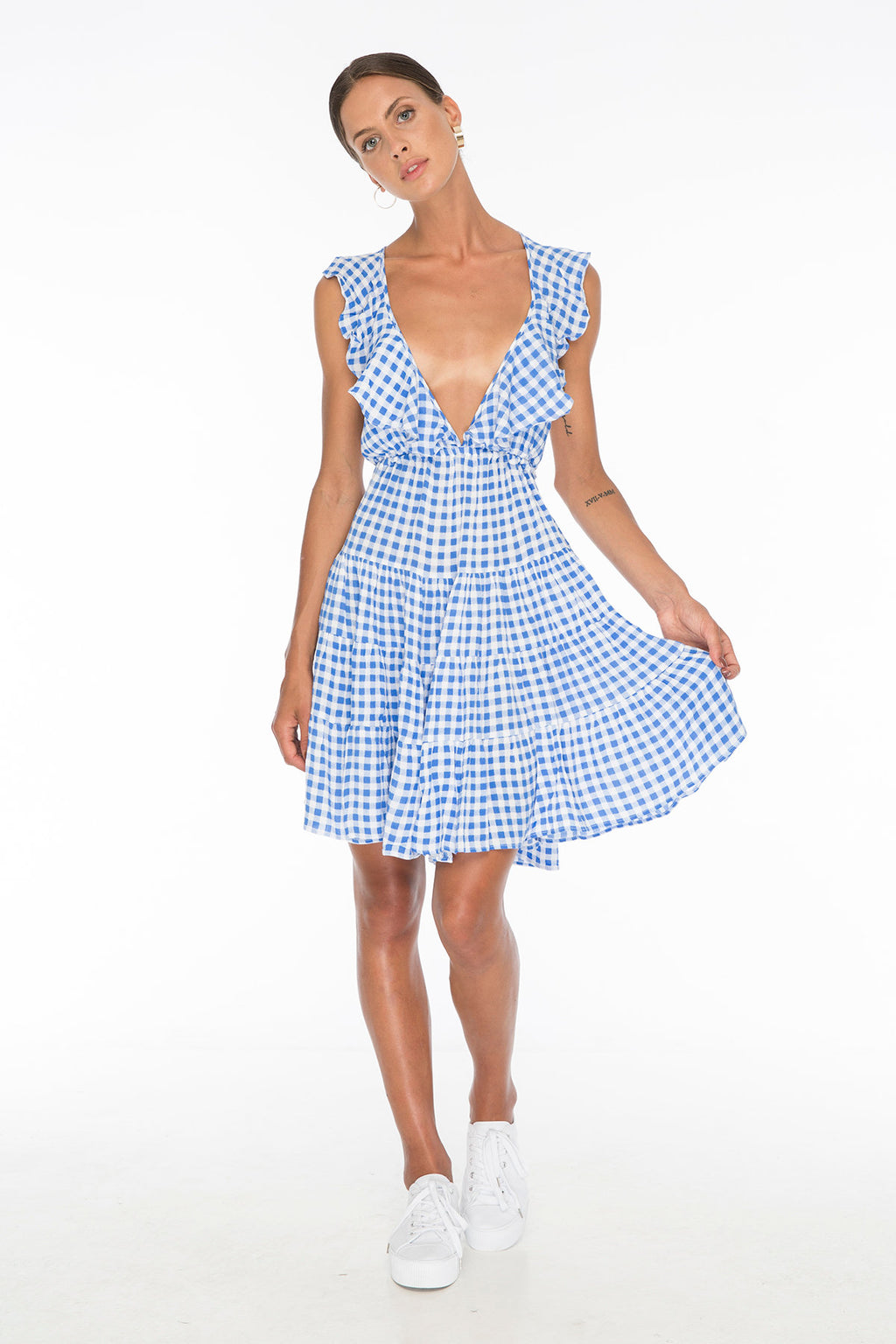 TSO-Susannah Coe Gingham Blue Dress - Zuttion