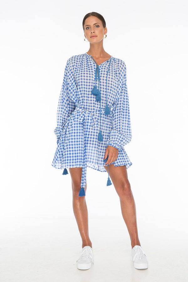 TSO-Rebecca Gingham Blue Day Dress - Zuttion