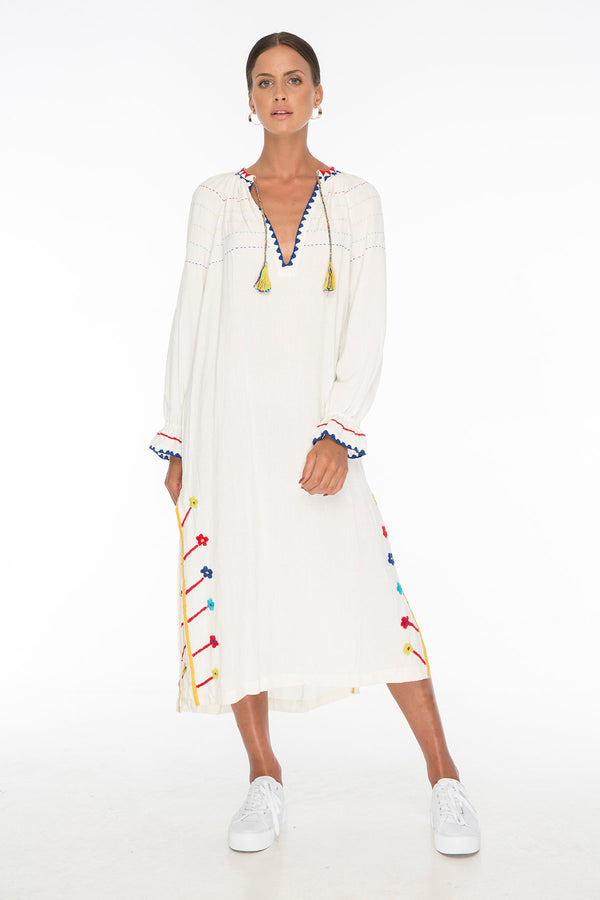TSO-Nude Water Embroidery Long Tunic - Zuttion