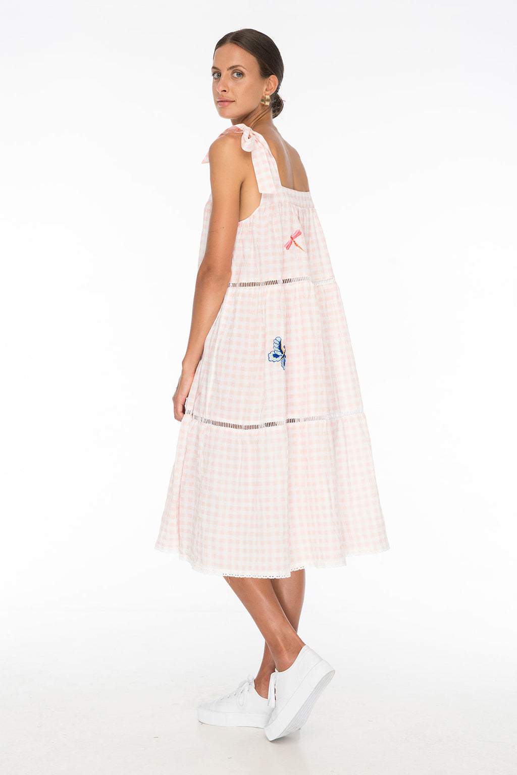TSO-Margot Embroidery Gingham Dress - Zuttion