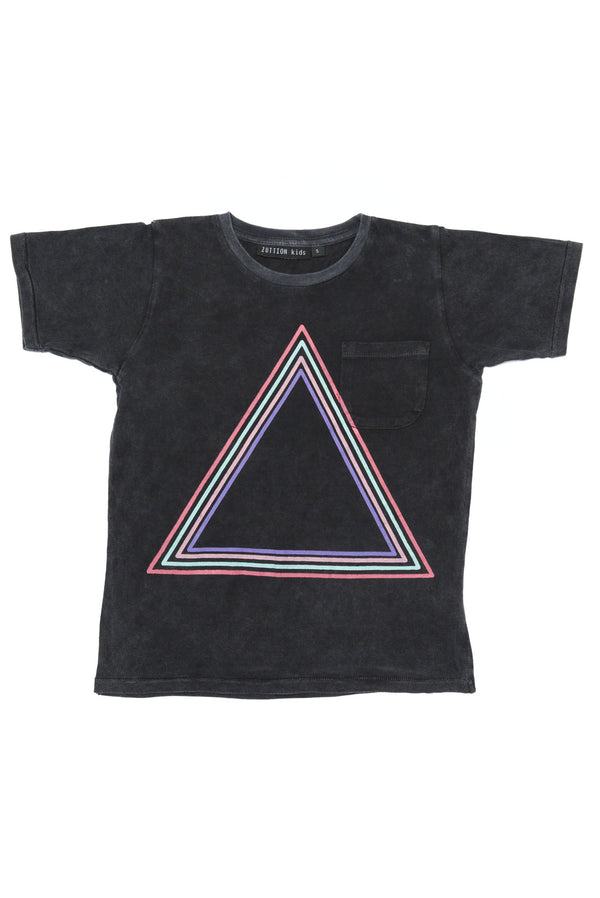 TRIANGLE S/S ROUND NECK POCKET T CHARCOAL - Zuttion