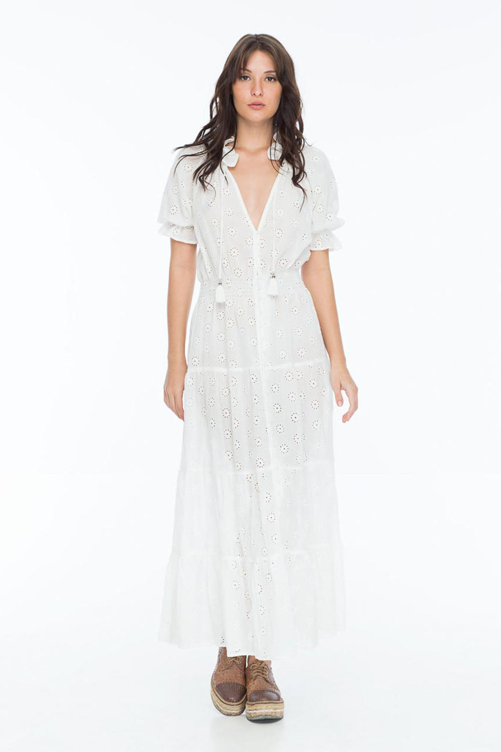 CAROLINA ISSA MAXI DRESS EYELET WHITE