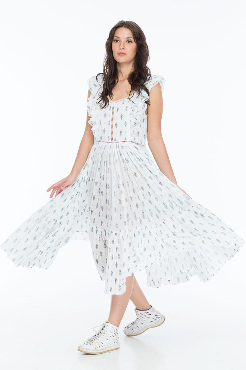 LISETTE DRESS BOHO FEATHER WHITE