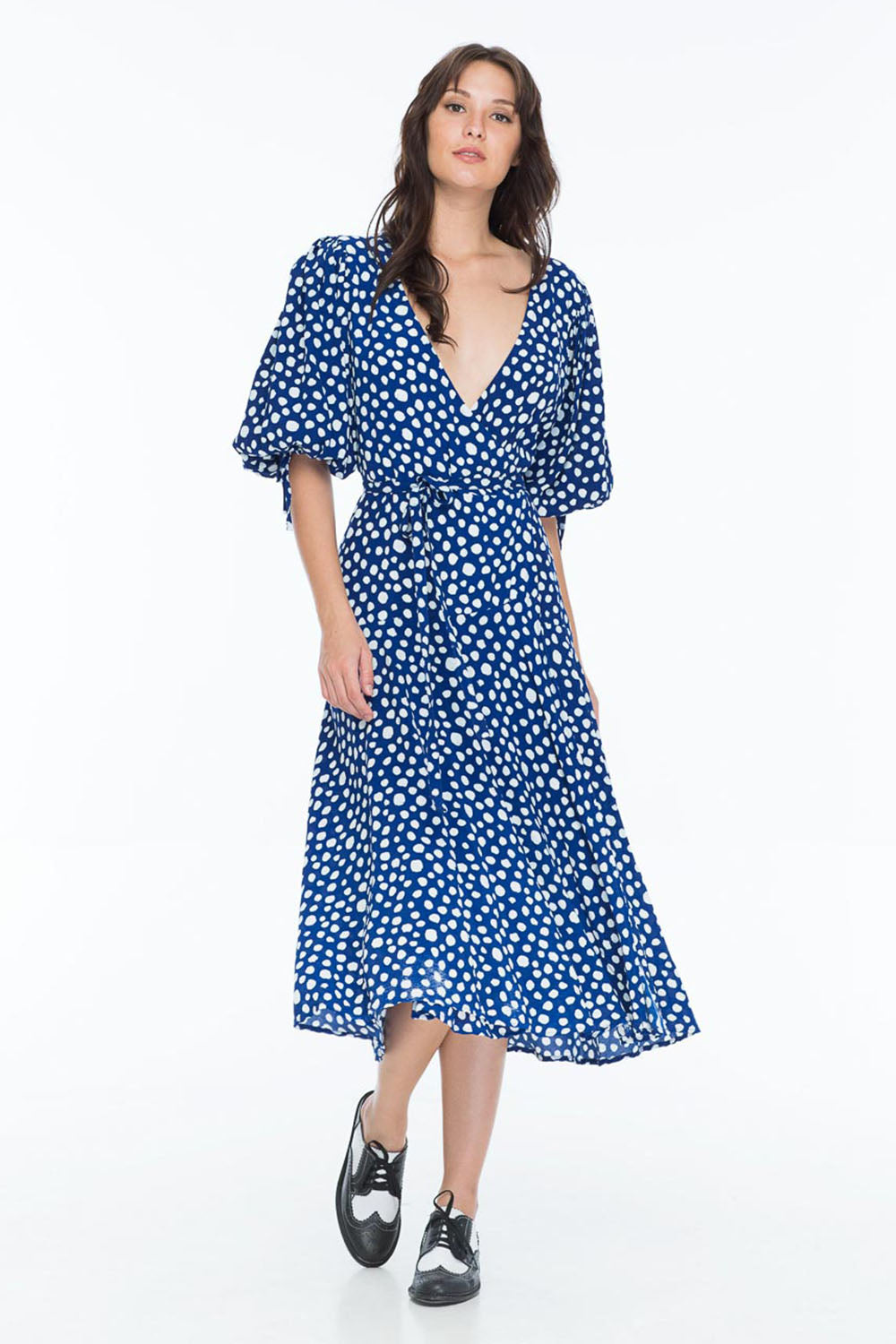 MADELEINE DRESS POLKA INDIGO