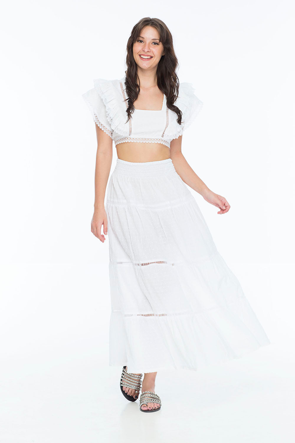 MORRIS LONG SKIRT SWISS DOT WHITE