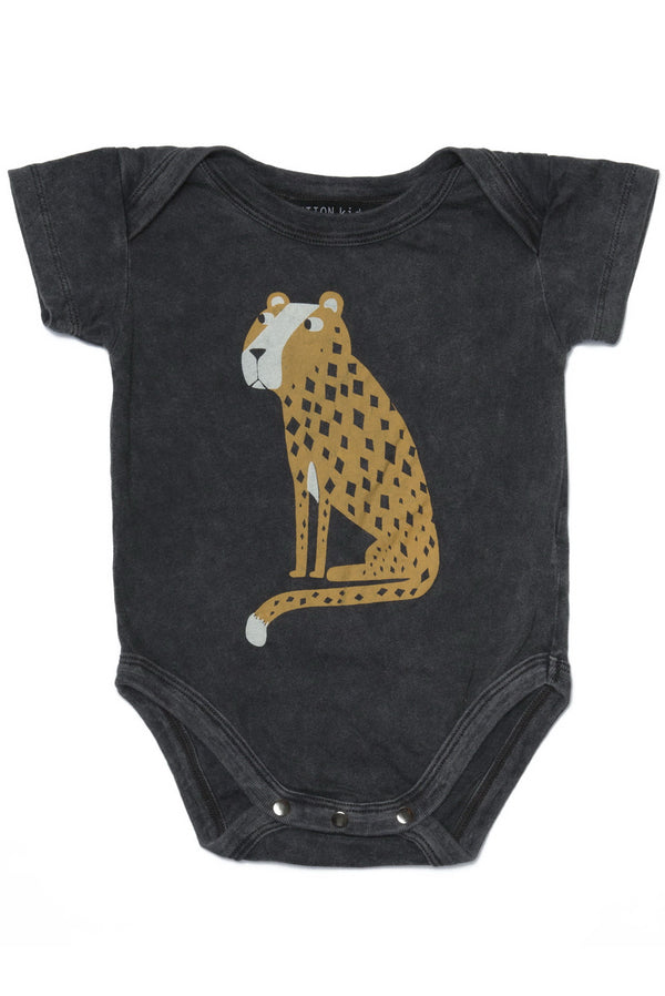 CHEETAH ONESIE CHARCOAL - Zuttion