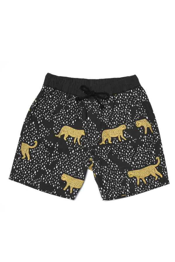 LEOPARD DIAMOND BOAT SHORT BLACK - Zuttion