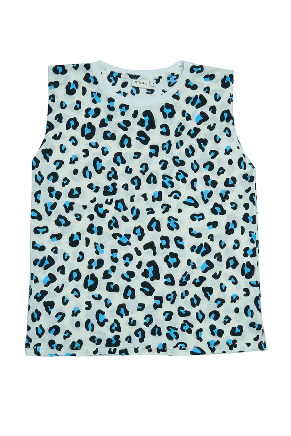 LEOPARD TANK TOP BLUE