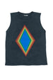 RAINBOW DIAMOND TANK TOP CHARCOAL