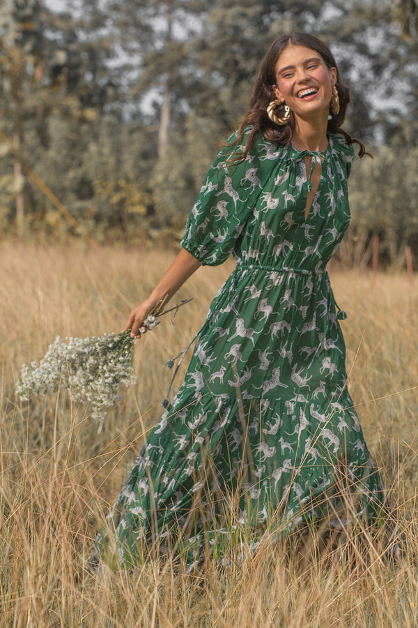 TWIGGY JANE MAXI DRESS ZEBRA GREEN
