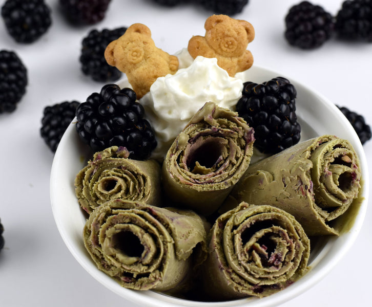 DIY Blackberry Matcha Ice Cream Rolls Recipe